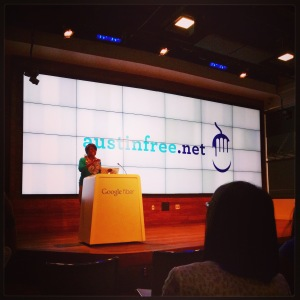 Juanita Budd of Austin Free-Net is shown speaking during the Google Fiber Digital Inclusion Fellowship reception on July 21 in Austin. Follow the link below for more information.