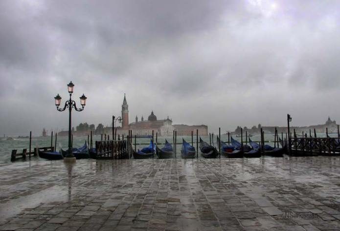 San Giorgio Gondolas and Clouds by Natalia Sarkissian
