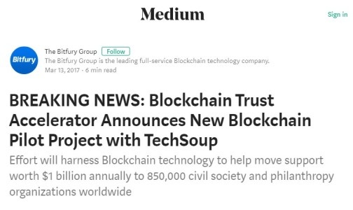 BREAKING NEWS_ Blockchain Trust Accelerator Announces New Blockchain Pilot Project with TechSoup