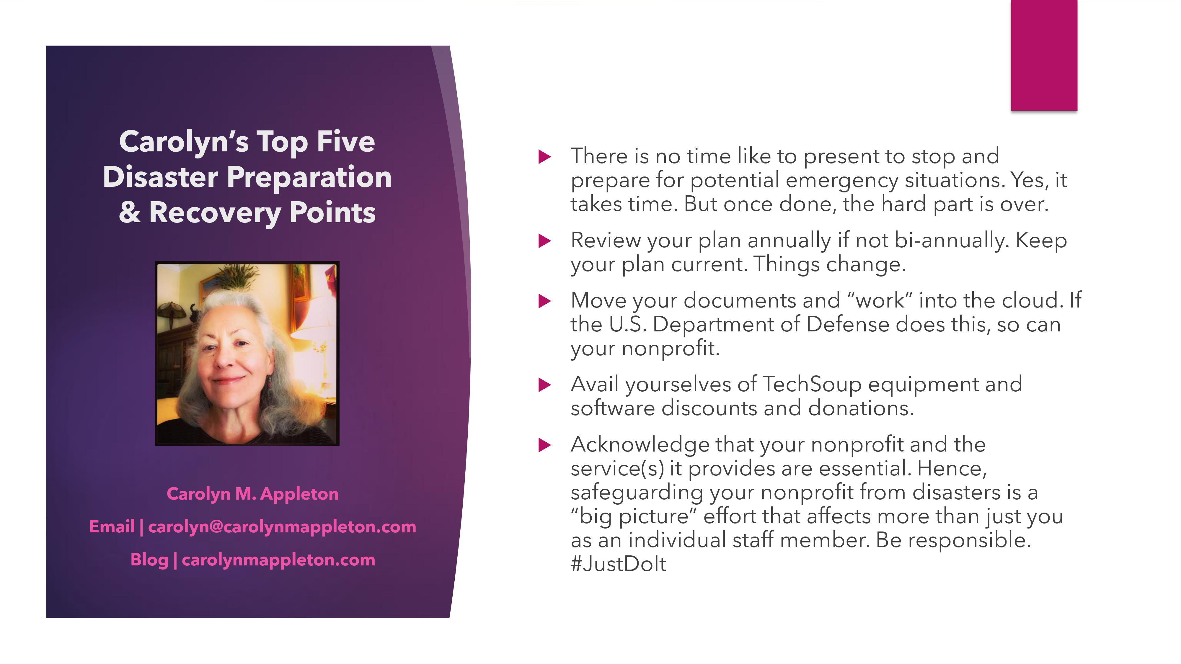 Carolyn's Top Five Points
